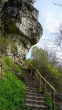 The Steps Up To The Buerg Fiels From The Centre Of The Town Larochette In Luxembourg, April