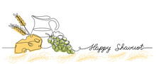 Happy Shavuot Vector Web Banner Background. One Continuous Line Drawing Illustration With Lettering Happy Shavuot