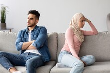Angry Muslim Husband And Wife Having Quarrel At Home