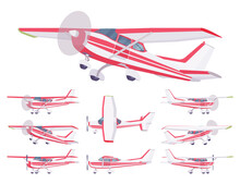 Light Aircraft, Red Stripe Plane Livery Set. Small Regional Logistics, Mobility And Transportation. Vector Flat Style Cartoon Illustration Isolated On White Background, Different Views And Positions