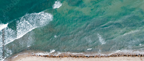 Foto Spring Baltic Sea in Rozewie view from a drone