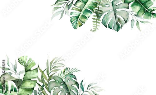 Watercolor tropical leaves border illustration - fototapety na wymiar