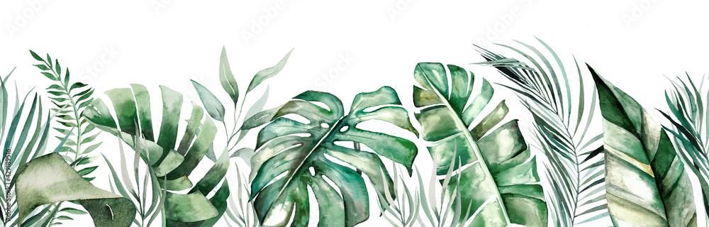 Fototapeta Watercolor tropical leaves seamles border
