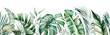 Leinwandbild Motiv Watercolor tropical leaves seamles border