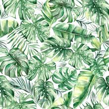 Watercolor Tropical Leaves Seamles Pattern
