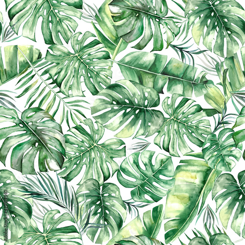 Tapety Tropikalne  akwarela-tropikalnych-lisci-wzor-seamles