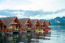 Floating House At Cheow Lan Dam (Ratchaprapa Dam), Thailand. One Of Unseen Thailand For Tourist Destination
