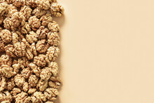 Frame Of Fresh Walnuts Without Shells On Beige Background. Food Walnuts Border With Copy Space.