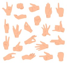 Flat Hands. Man Hand With Various Gestures And Fist. Open Palm Victory And Thumbs Up, Pointing Finger Sign. Holding And Giving Arm Vector Set. Body Language Signals For Communication