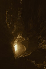 light in a cave tunnel