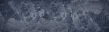 Dark Blue Shabby Textured Wall Wide Texture. Black Gloomy Abstract Grunge Panoramic Background