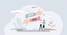 Yes Or No Answer To Asking Question As Choice Decision Tiny Person Concept. Compare, Choose One And Select Correct Option Vector Illustration. Thumbs Up Or Down As Feedback Voting Gesture Evaluation.