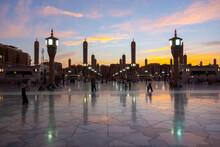 A Evening Shot Of Green Dome Raula Masjid Al Nabawi Madeena,Saudi Arabia