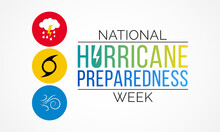 Hurricane Preparedness Week Is Observed Every Year In May. It Is A Effort To Inform The Public About Hurricane Hazards And To Disseminate Knowledge Which Can Be Used To Prepare And Take Action. Vector