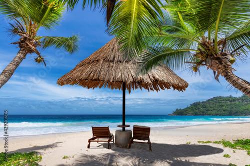Canvas-taulu Tropical Sunny beach with coco palms and sun umbrella, beach sunbeds, turquoise sea in tropical island