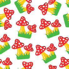 Fly Agaric On Green Grass Seamless Pattern