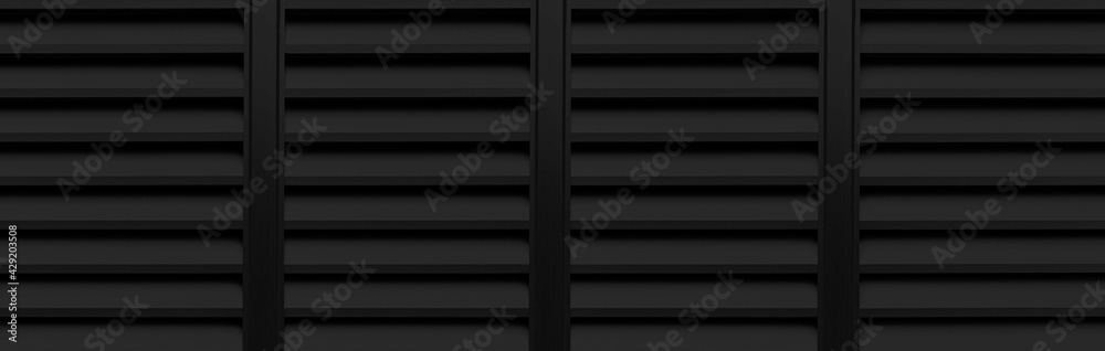 Fotografie, Obraz Panorama of black louvered aluminum wall pattern and background seamless