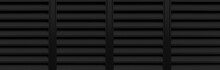 Panorama Of Black Louvered Aluminum Wall Pattern And Background Seamless