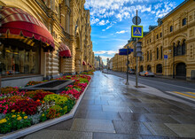 GUM Store And Ilinka Street In Moscow, Russia. Architecture And Landmarks Of Moscow. Cityscape Of Moscow
