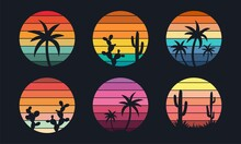 Retro Sunset Collection 80s Style. Striped Colorful Shapes With Tropical Palms And Cacti