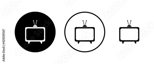 Fotografie, Tablou TV vector icons set. Television icon