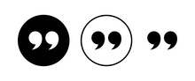 Quote Icons Set. Quote Sign Icon. Quotation Mark Symbol.