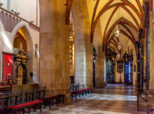 Gothic Aisle Of Gniezno Cathedral With Symbolic Sarcophagus And Coffin Of St. Adalbert, Sw. Wojciech, Martyr In Old Town Lech Hill Historic City Center Of Gniezno, Poland