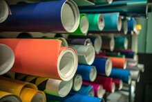 Rolls Of Vinyl Film In Different Colors In Production