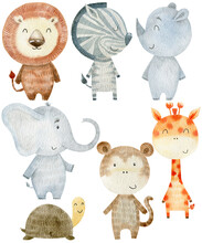 Watercolor Cartoon Safari Animals Set.
