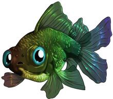 Digital Illustration Of A Dragon Eye Goldfish