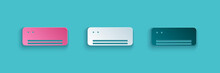 Paper Cut Air Conditioner Icon Isolated On Blue Background. Split System Air Conditioning. Cool And Cold Climate Control System. Paper Art Style. Vector