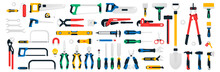 Large Collection Of Construction Tools. Saws, Wrenches, Screwdrivers, Multitool, Hammers, Spatula, Lamp, Magnet, Flashlight Caliper Electrical Outlet Files Shovel Scissors Vector Illustration
