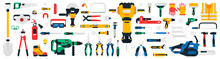 Construction Tools Set. Collection Of Tools For Repair, Construction, Finishing Work. Work Accessories For Locksmith, Electrician, Plumber, Builder, Carpenter. Isolated Vector Illustration.