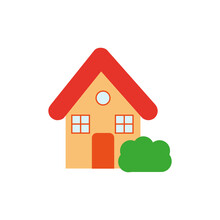 House Icon. House With A Bush. Vector Graphics