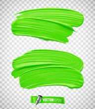 Traces De Peinture Vert Vectorielles Sur Fond Transparent