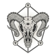 Goat Head Skull Detailed Vector Illustration Design.