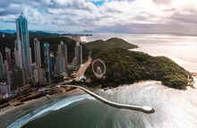 Aerial Image With Drone Morning Of The City Of Balneário Camboriú With The Ferris Wheel Santa Catarina Brazil