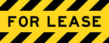 Yellow And Black Color With Line Striped Label Banner With Word For Lease