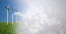 Composition Of Wind Turbines In Countryside With Screen Of Smoke
