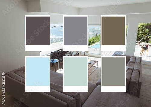 Composition of six colour swatches over modern interiors with sea view in background