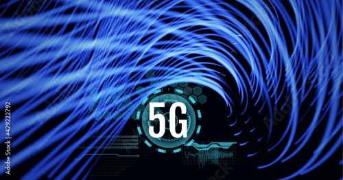 Composition of 5g text over scope scanning and blue light trails in background