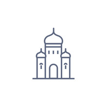 Church Line Icon - Orthodox Chapel Simple Linear Pictogram On White Background. Vector Illustration.