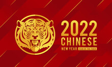 2022 Chinese New Year, Year Of The Tiger Gold Text And Gold Head Tiger Zodiac In Circle Frame On Abstract Red Stripe Texture Background Vector Design