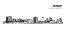 Cityscape Building Abstract Simple Shape And Modern Style Art Vector Design - Lethbridge