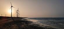 Sunset Of Wind Farm At Bali, New Taipei City, Taiwan