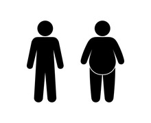 Human Silhouette, Slim And Fat People Stand Side By Side, Stick Man Icon, Obesity And Healthy Lifestyle
