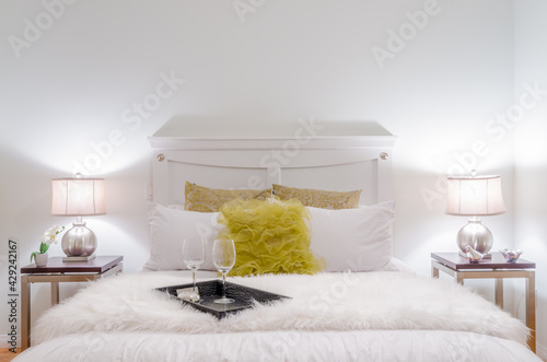 Beautiful and modern home and hotel bedroom interior design. - fototapety na wymiar