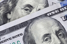 Close Up American One Hundred Dollars Banknotes