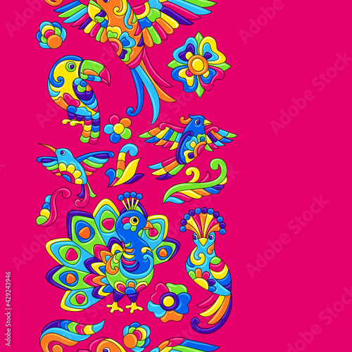 Fototapeta premium Seamless pattern with tropical birds. Mexican ceramic cute naive art.