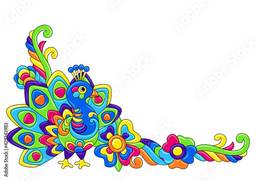 Fototapeta premium Decorative frame with tropical birds. Mexican ceramic cute naive art.